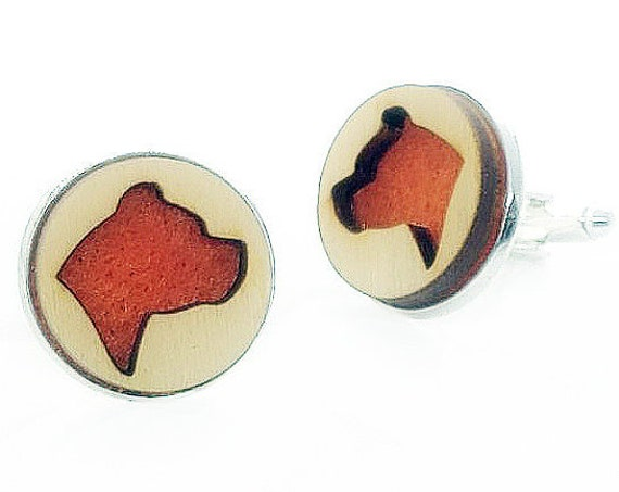 Pit bull cuff links of stainless Steel, Plywood and Felt for Father's Day Gift, 5th anniversary gift, Groomsmen gift, Wedding cuff links