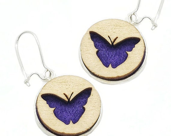 Butterfly Earrings from cut Plywood and Felt set in Stainless Steel and hung from silver