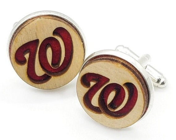 Nats cuff links of stainless Steel, Plywood and Felt for Father's Day Gift, 5th anniversary gift, Groomsmen gift, Wedding cuff links