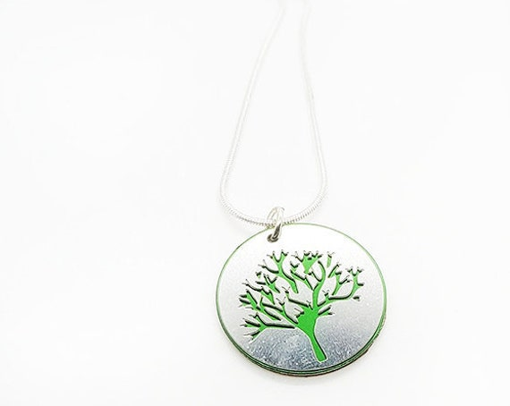 Double sided Tree of Life pendant of stainless steel and recycled aluminum