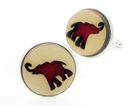Elephant cuff links of stainless Steel, Plywood and Felt for Father's Day Gift, 5th anniversary gift, Groomsmen gift, Wedding cuff links