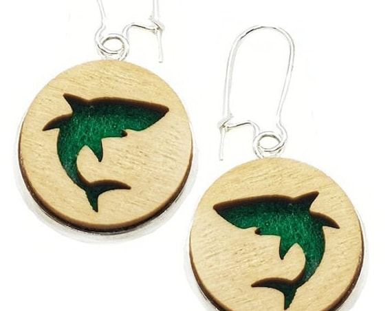 Shark Earrings from cut Plywood and Felt set in Stainless Steel and hung from silver