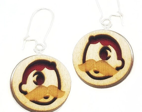 Natty Boh Earrings from cut Plywood and Felt set in Stainless Steel and hung from silver