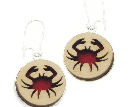 Crab Earrings from cut Plywood and felt set in Stainless Steel  and hung from silver