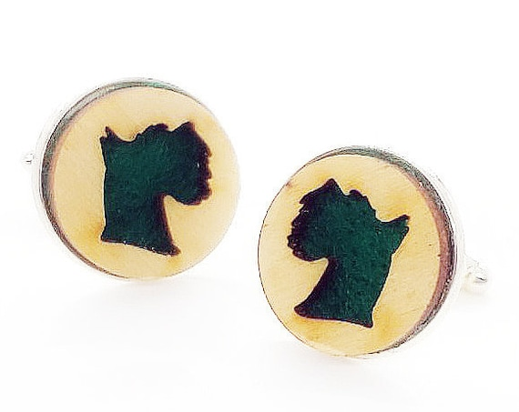 Schnauzer cuff links of stainless Steel, Plywood and Felt for Father's Day Gift, 5th anniversary gift, Groomsmen gift, Wedding cuff links