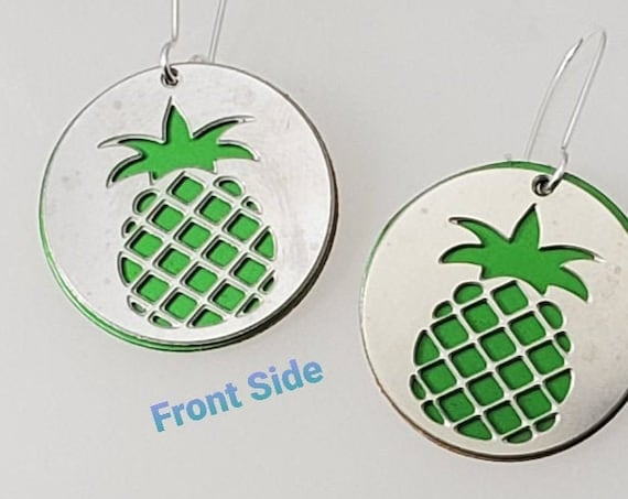 Double sided Pineapple Earrings from Stainless Steel with Green recycled aluminum or plywood