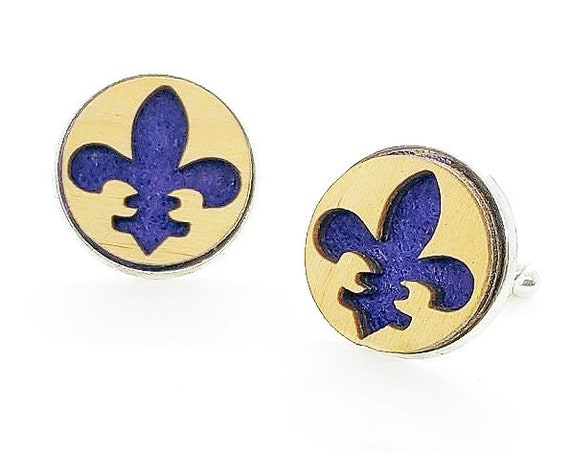 Fleur-de-lis cuff links of stainless Steel, Plywood and Felt for Father's Day Gift, 5th anniversary gift, Groomsmen gift, Wedding cuff links