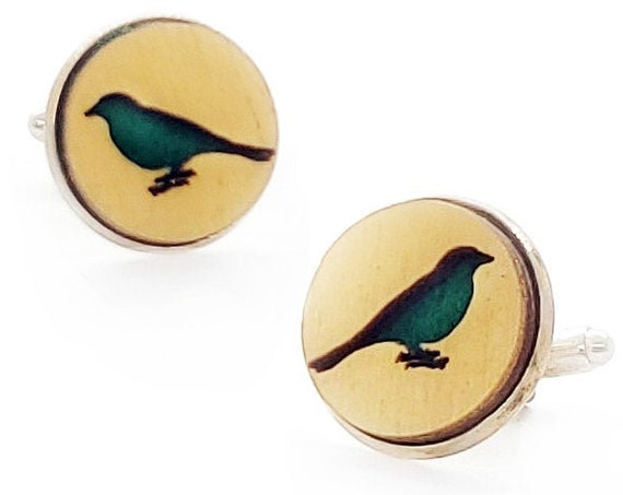 Bird cuff links of stainless Steel, Plywood and Felt for Father's Day Gift, 5th anniversary gift, Groomsmen gift, Wedding cuff links