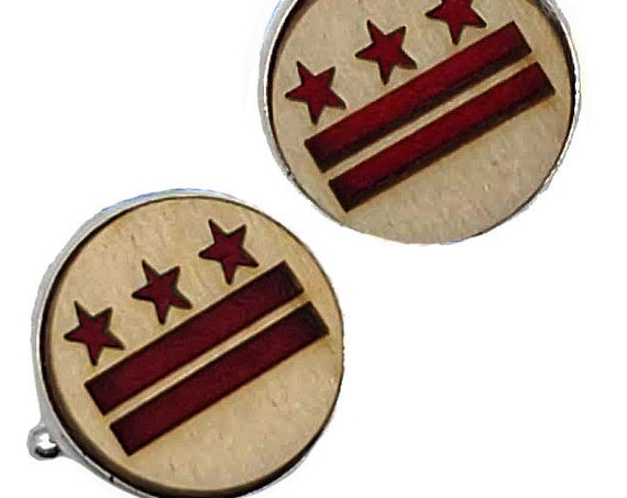 DC Flag cuff links of stainless Steel, Plywood and Felt for Father's Day Gift, 5th anniversary gift, Groomsmen gift, Wedding cuff links