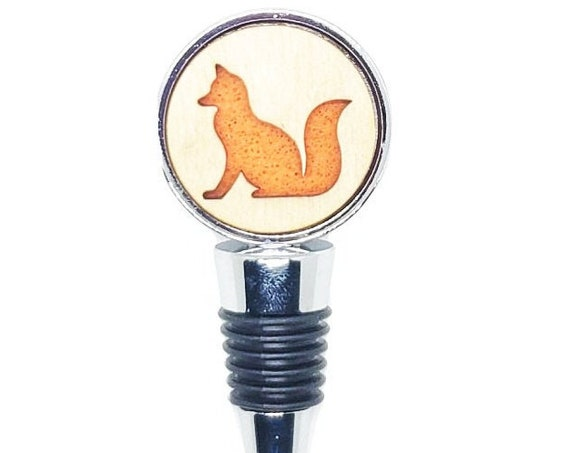 Fox Wine Stopper - Bottle Stoppers - Wine Bottle Stoppers with Plywood and felt-Gift for a wine lover-Hostess Gift-Housewarming Gift