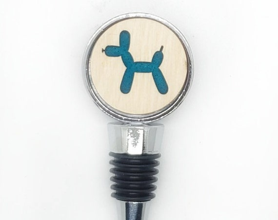 Balloon Dog - Bottle Stoppers - Wine Bottle Stoppers with acrylic and felt-Gift for a wine lover-Hostess Gift-Housewarming Gift