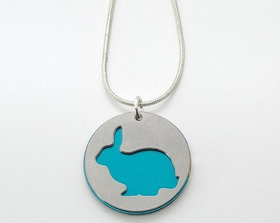 Double sided Bunny Rabbit pendant of stainless steel and recycled aluminum