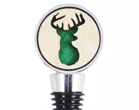 Deer Wine Stopper - Bottle Stoppers - Wine Bottle Stoppers with Plywood and felt-Gift for a wine lover-Hostess Gift-Housewarming Gift