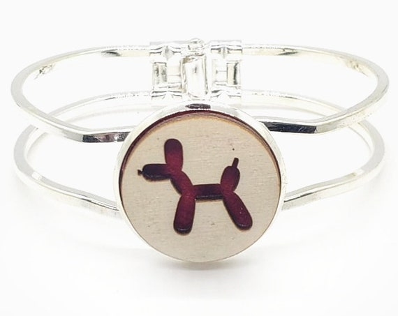 Ballon Dog Cuff Bracelet from cut Plywood and Felt set into Hinged Stainless Steel setting