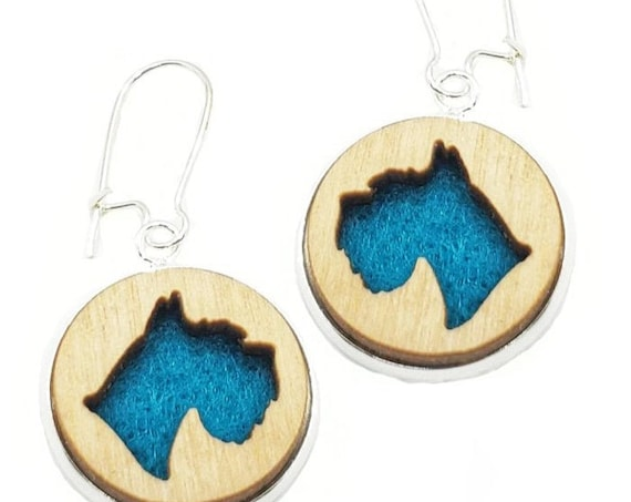 Schnauzer Earrings from cut Plywood and felt set in Stainless Steel  and hung from silver