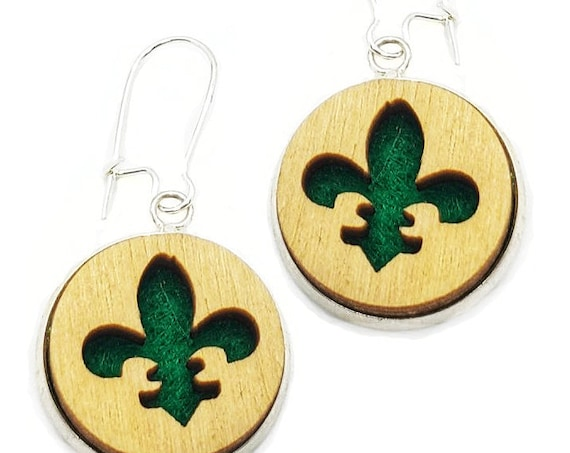 Fleur-de-lis Earrings from cut Plywood and Felt set in Stainless Steel and hung from silver