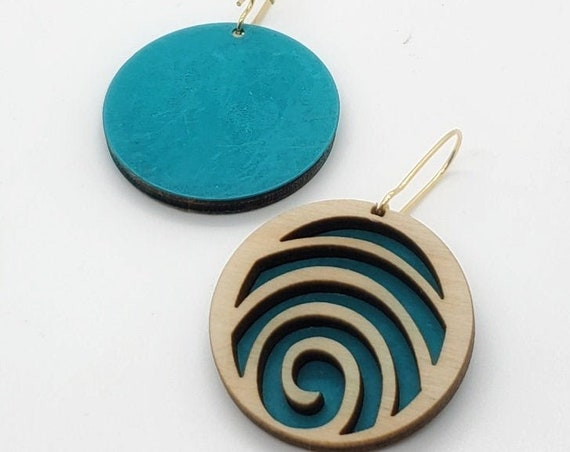 Brass Patina and Plywood Swirl Round Earrings in Teal