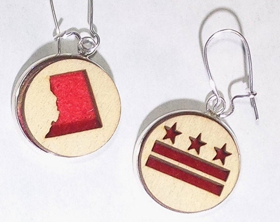 DC Earrings from cut Plywood and Felt set in Stainless Steel and hung from silver