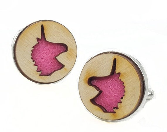 Unicorn cuff links of stainless Steel, Plywood and Felt for Father's Day Gift, 5th anniversary gift, Groomsmen gift, Wedding cuff links