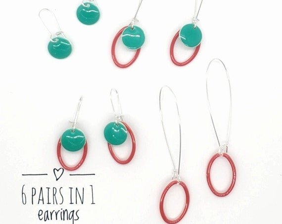 6 way Enamel and Silver Earrings