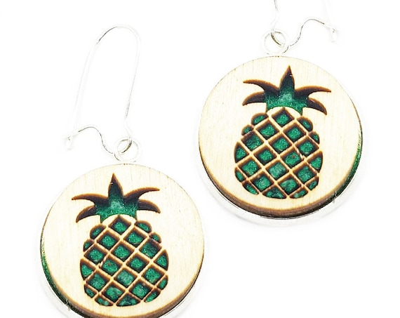 Pineapple Earrings from cut Plywood and felt set in Stainless Steel  and hung from silver