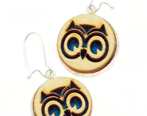 Owl Earrings from cut Plywood and felt set in Stainless Steel  and hung from silver