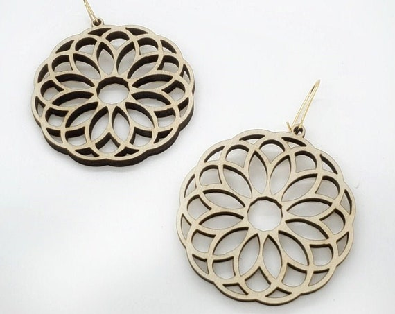 Wood Filigree Modern Flower/round Earrings