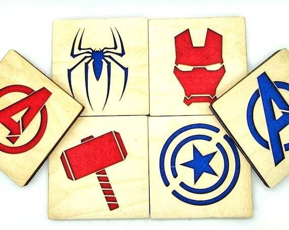 6 Superhero Coasters laser cut natural eco-friendly Waterproof plywood birch and Felt