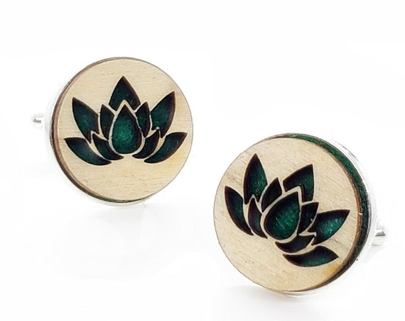 Lotus cuff links of stainless Steel, Plywood and Felt for Father's Day Gift, 5th anniversary gift, Groomsmen gift, Wedding cuff links