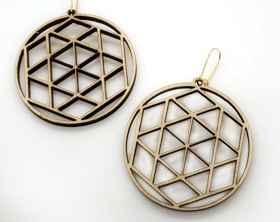 Wood Filigree Modern Hexagon/round Earrings