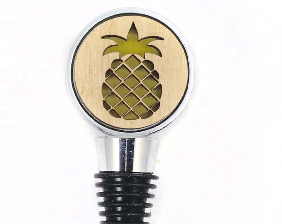 Pineapple Wine Stopper - Bottle Stoppers - Wine Bottle Stoppers with Plywood and felt-Gift for a wine lover-Hostess Gift-Housewarming Gift