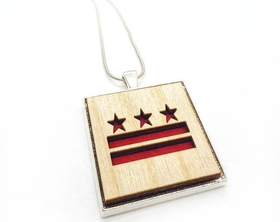 DC Flag pendant of plywood and felt