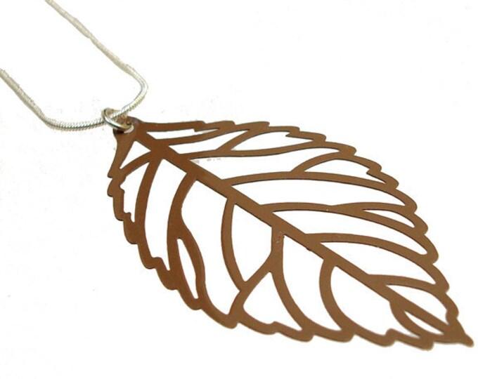 Enameled Filigree Leaf Pendant in Brown