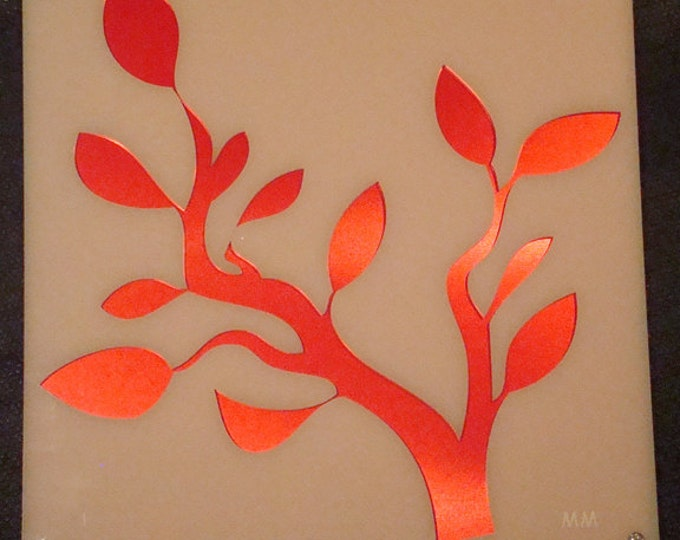 Acrylic Tree Branch and Recycled Aluminum in Red