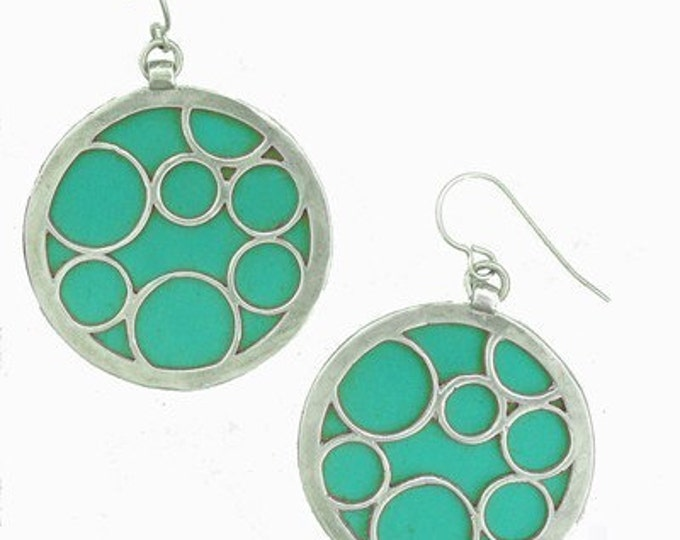 large teal round bubble earrings