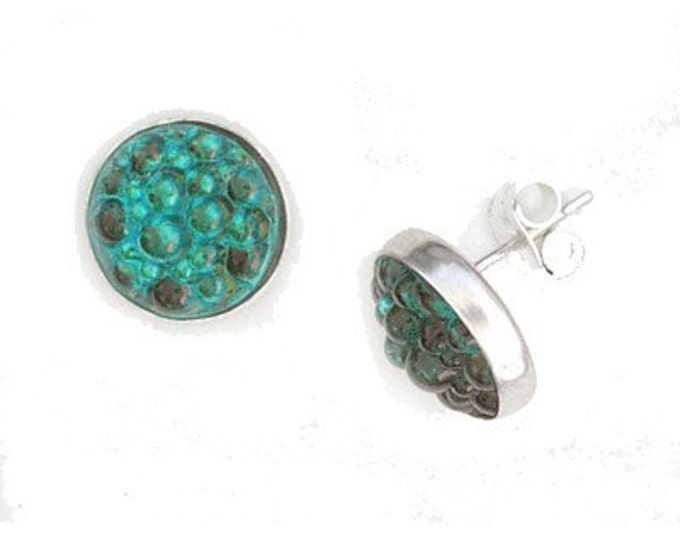 Caviar Roe Glass sterling silver post earrings in Aqua