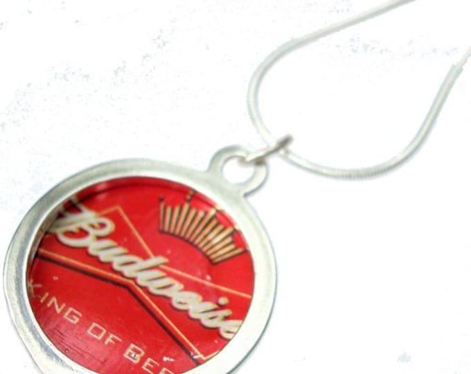 Budweiser Bottle Cap/ Sterling Silver Pendant