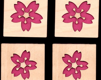 4 Cherry Blossom PinkCoasters wooden laser cut natural eco-friendly Waterproof plywood birch and Felt