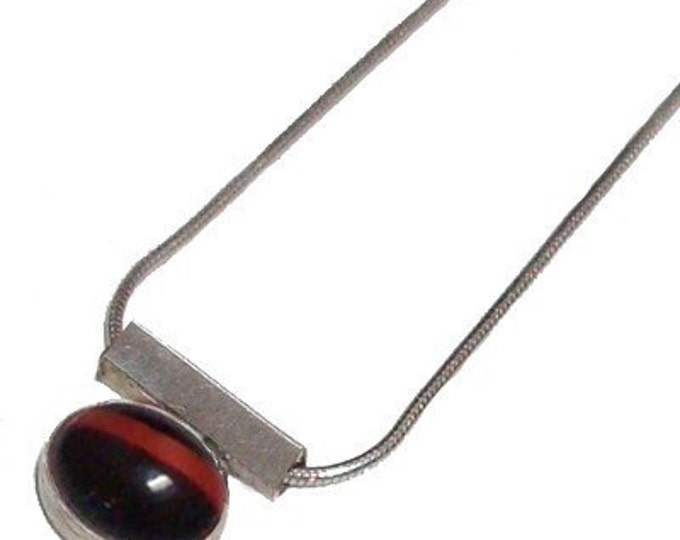Red Striped Glass Sterling Silver Pendant