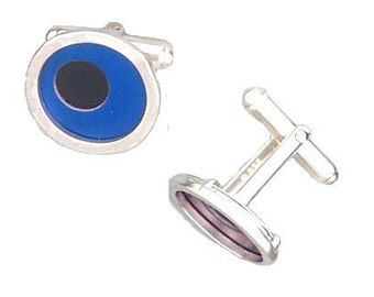 Two Tone Silver/recycled aluminum cufflinks blue and jet