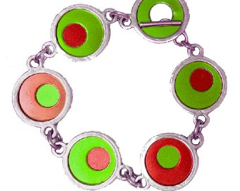Two Tone Silver/recycled aluminum red/lime bracelet