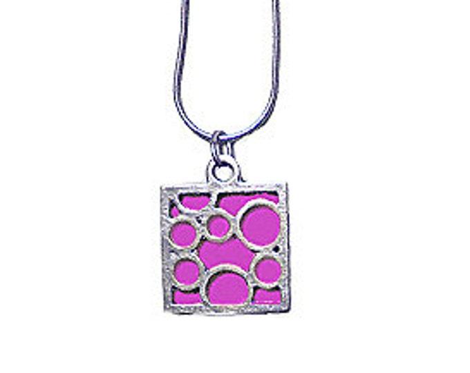 Small Square Fuchsia Bubble pendant