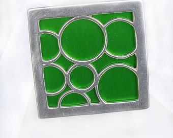 Super Size square bubble ring in green