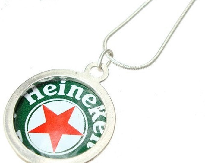 Beer Bottle Cap/ Sterling Silver Pendant