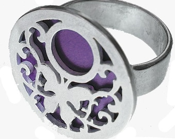 BUTTERFLY ring of recycled aluminum/sterling silver in PURPLE