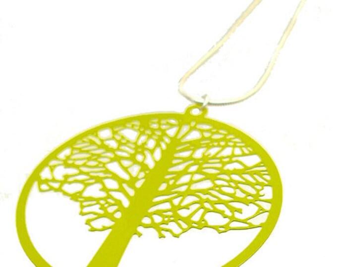 Enameled Filigree Tree Pendant in Lime Green