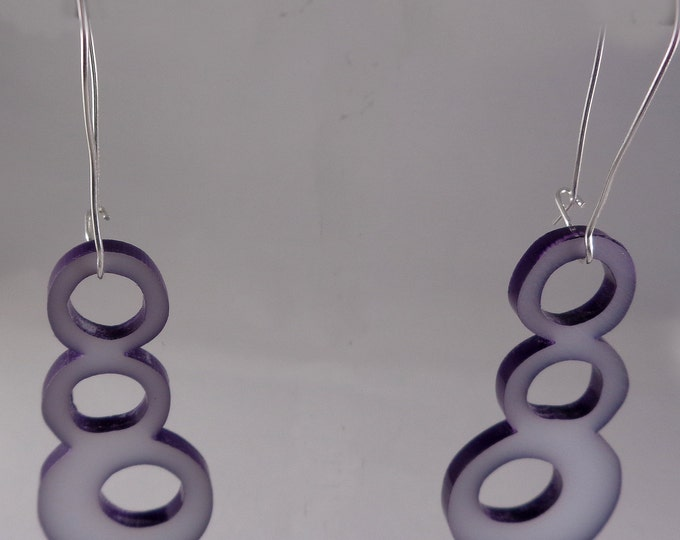 Enameled and Acrylic Bubble Earrings in Purple