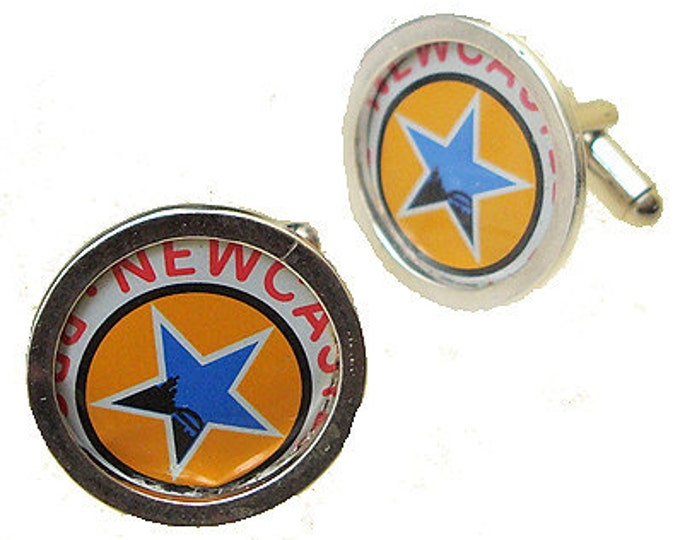 New Castle Cuff Links of Bottle Cap / Sterling Silver cuff