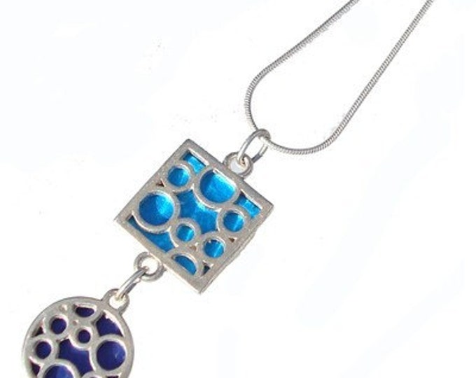 Mix Bubble Pendant of sterling silver and aqua/blue