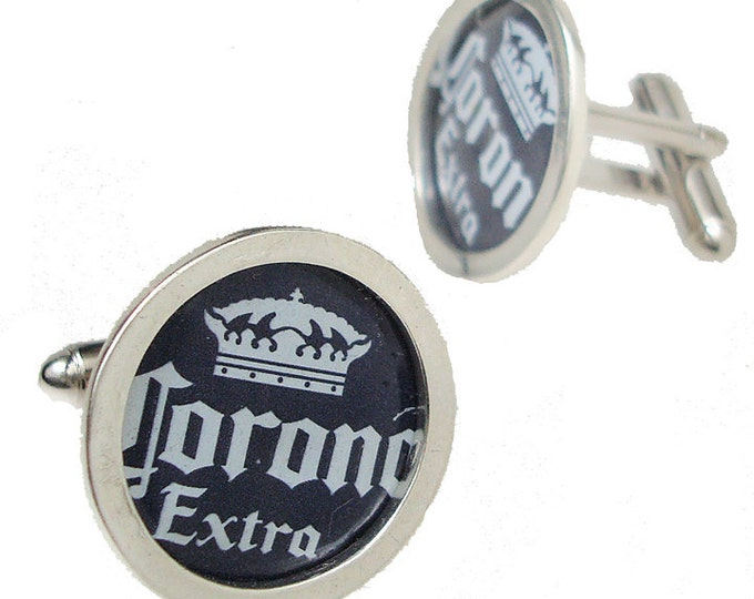 Corona Bottle Cap/ Sterling Silver cuff links